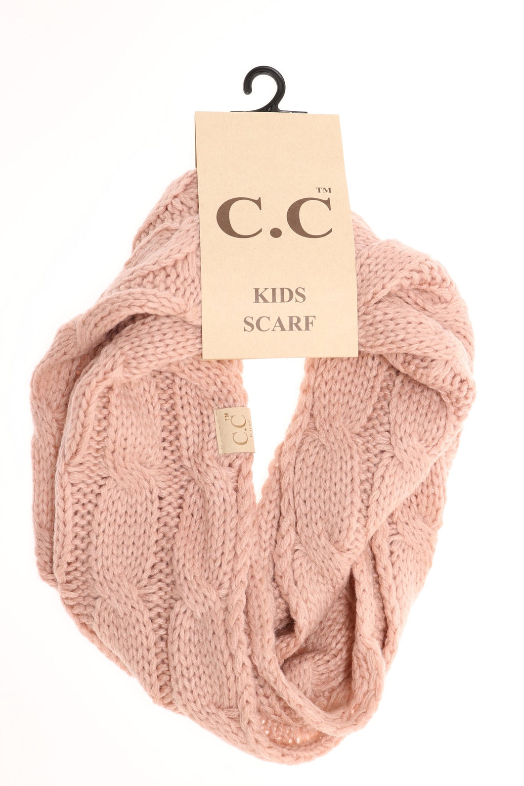 Solid Cable Knit Infinity Scarf - Indie Pink