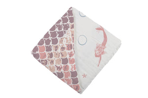 Mermaids and Scales Bamboo Muslin Blanket