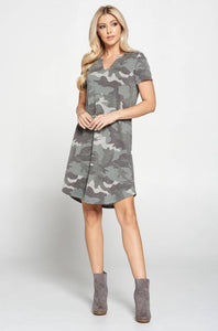Camo Print Midi Maternity Dress with Curved Hem