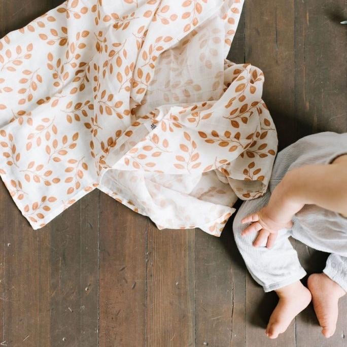 Muslin Swaddle - Amber Leaves