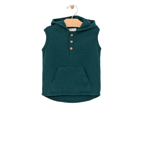 Crinkle Cotton Hooded Henley - Pine