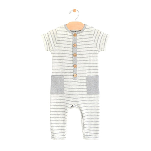 Long Button Side Pocket Romper - Melange Stripe
