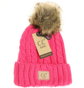 Kids Cable Knit Ribbed Fur Pom Beanie - New CD Pink