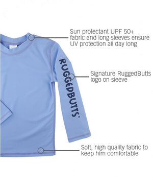 Long Sleeve Logo Rash Guard - Cornflower Blue