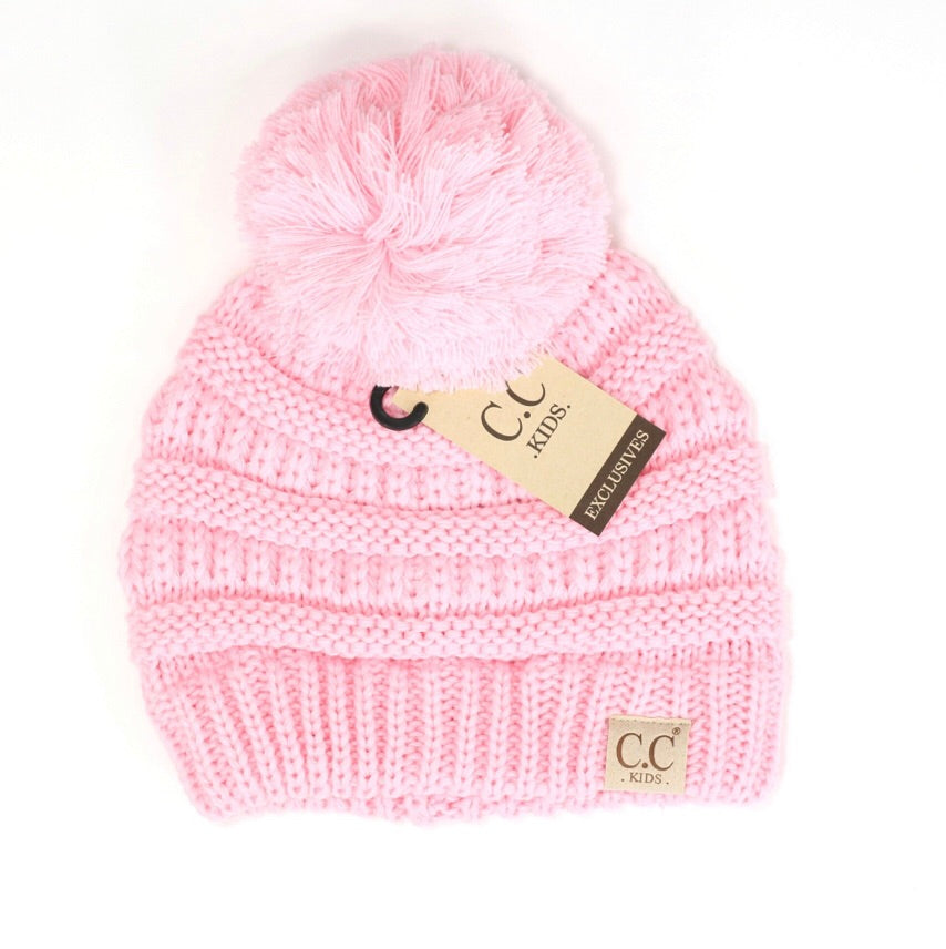 Solid Single Pom Beanie - Pale Pink