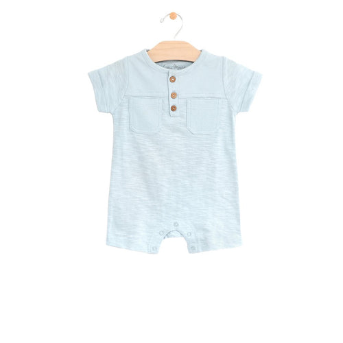 Short Pocket Romper - Sky