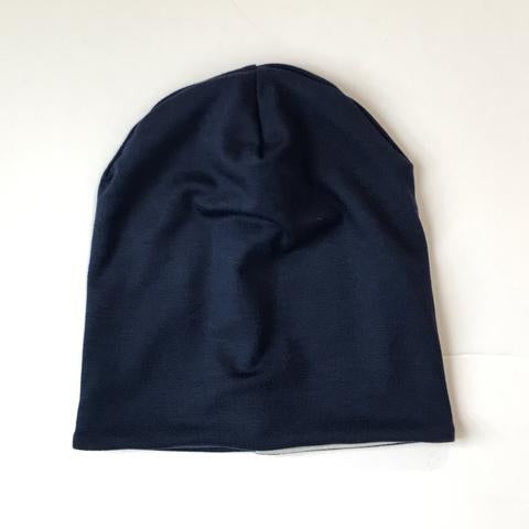 Reversible Slouchy Beanie - Navy Stripe/Solid Navy
