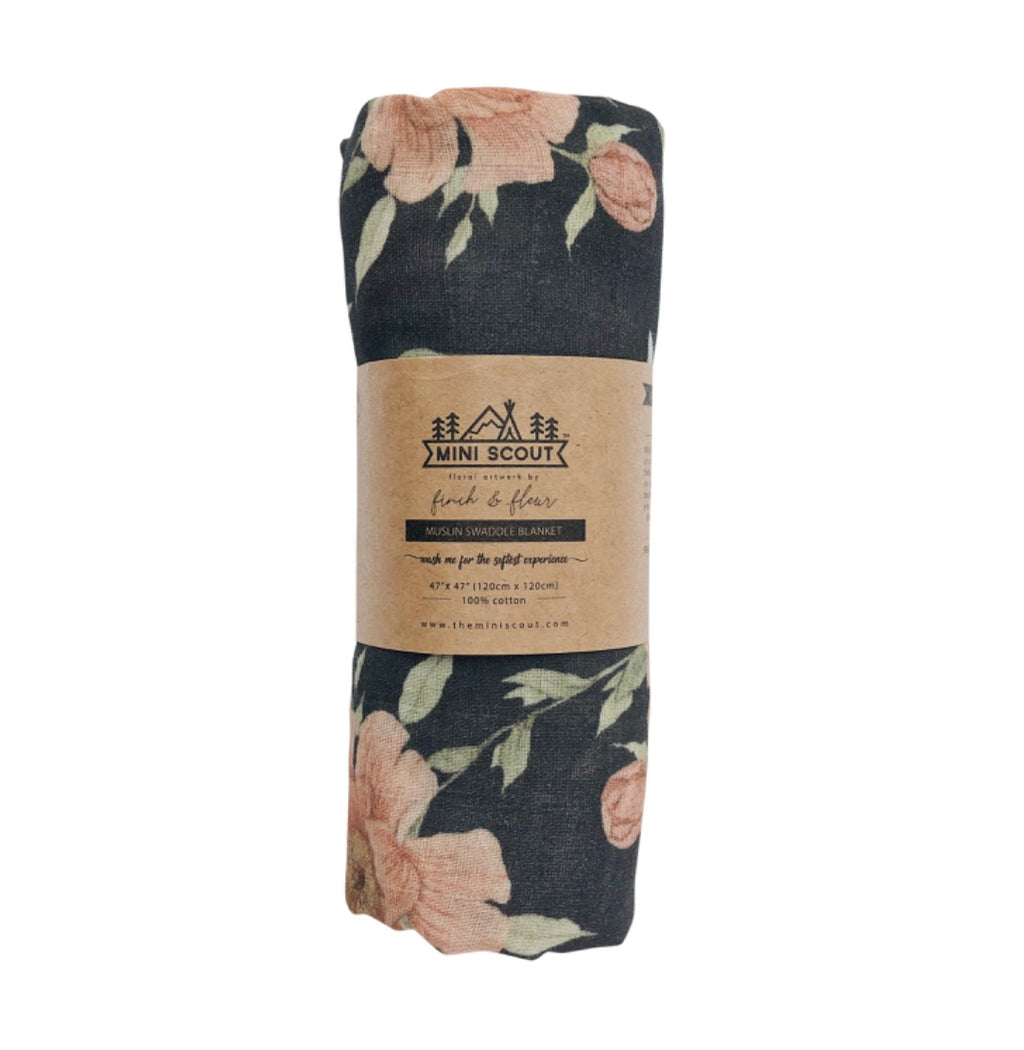 Muslin Swaddle - Charcoal Grey Peony Blooms