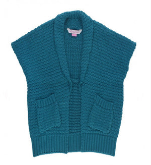 Long Open Sweater Vest - Ethereal Blue