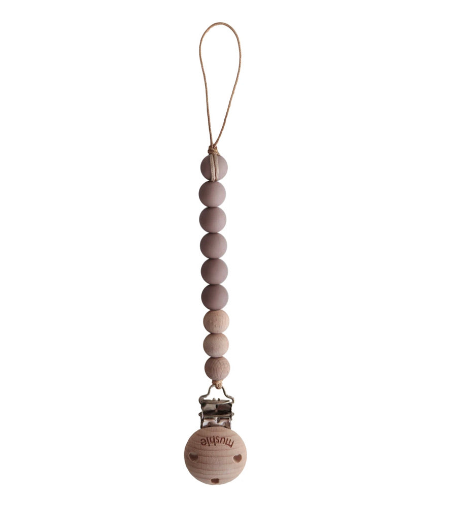 Mushie Cleo Pacifier Clip - Cloudy Mauve