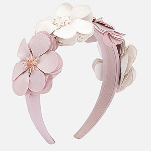 Pink & White Flower Headband - 2-4 years