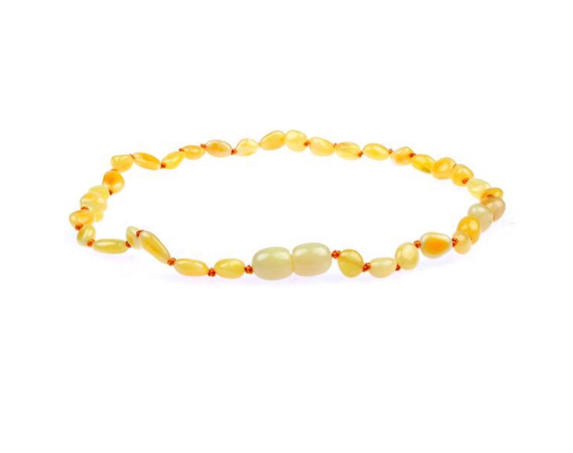 Amber Teething Necklace - Polished Milk Bean Baltic Amber