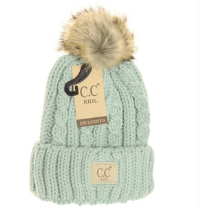 Kids Cable Knit Ribbed Fur Pom Beanie - Mint