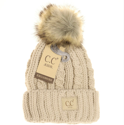 Kids Cable Knit Ribbed Fur Pom Beanie - Beige