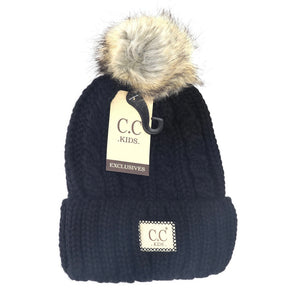 Kids Cable Knit Ribbed Fur Pom Beanie - Black