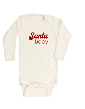 "Tenth & Pine - Long Sleeve Organic Onesie ""Santa Baby"""