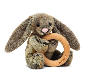 Woodland Babe Bunny Wooden Ring Toy - Jellycat