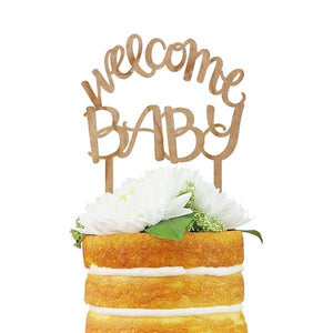 Cherry Wood Script Cake Topper - Welcome Baby