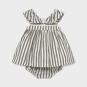 Linen Striped Infant Dress - Black