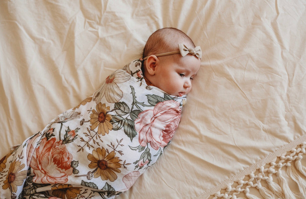 Muslin Swaddle - White Garden Floral