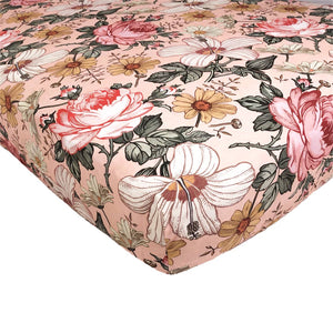 Crib Sheet - Rose Pink Garden Floral