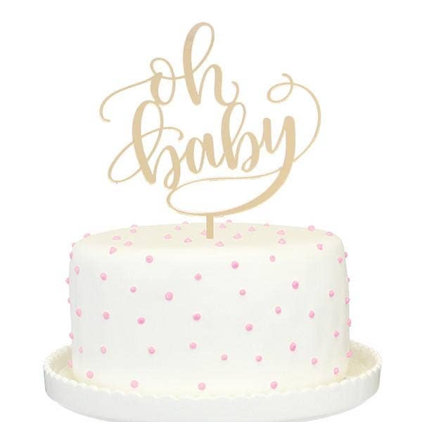 Gold Mirror Cake Topper - Oh Baby