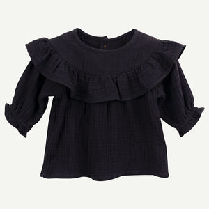 Organic Cotton Gauze Collared Top - Black