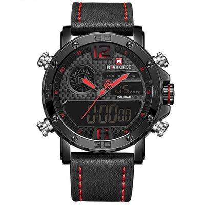 Quartz Wrist Watch - Black Red