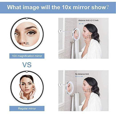 Flexible Light Up Mirror 10x magnification 360-Degree Rotating Makeup Mirror -