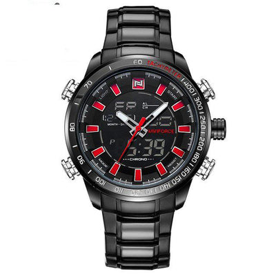 Double Display Quartz Wrist Watch - Black Red