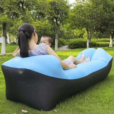 Outdoor Infaltable Air Sofa - Black and Sky Blue