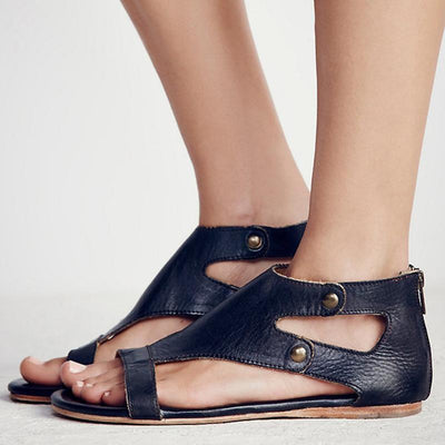 Gladiator Beach Flat Leather Sandals - Black / 5