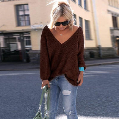 Long Sleeve Knitted Sweaters - 0069 coffee / S