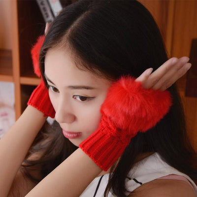 Fluffy Fur Winter Gloves - Wine Red