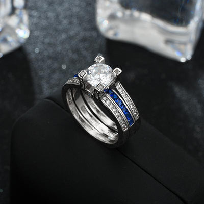 Crystal Couple Wedding Ring Set (2Pcs)