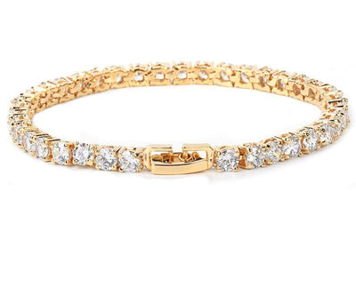 Cubic Zirconia Chain Bracelet - 3MM GOLD / 18CM