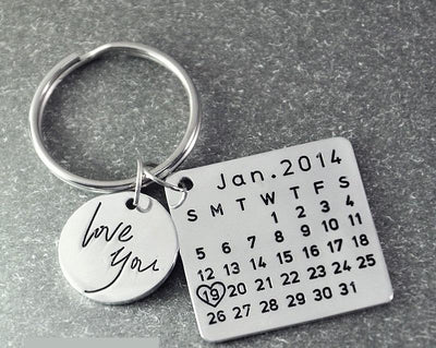 Special Date-Calendar Key-chain - Silver Color