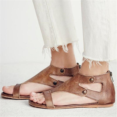 Gladiator Beach Flat Leather Sandals - Khaki / 5