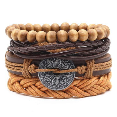 Unisex Leather Charm Bracelet Set (4Pcs) -