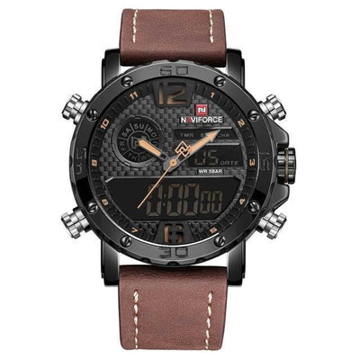 Quartz Wrist Watch - Black Brown