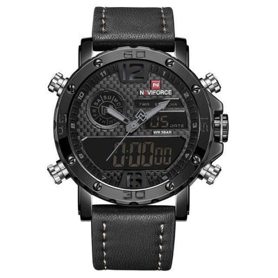 Quartz Wrist Watch - Black Gray