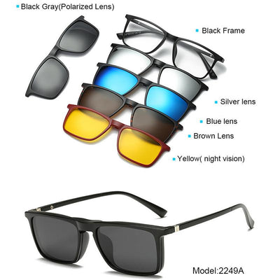 5 in 1 Magnetic Lens Swappable Sunglasses -