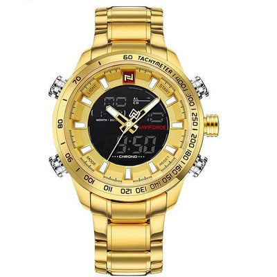 Double Display Quartz Wrist Watch - Gold