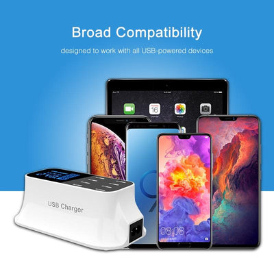 Smart 8 Port USB Desktop Fast Charging Dock Station with Led Display -