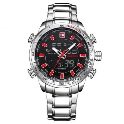 Double Display Quartz Wrist Watch - Silver Red