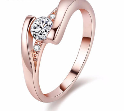 Crystal Wedding Charm Ring - 4 / White / Rose Gold Color