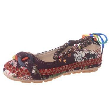 Handmade Beaded Ankle Straps Flat Shoes - Brown / 4