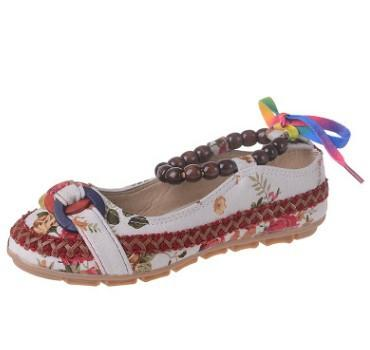 Handmade Beaded Ankle Straps Flat Shoes - Beige / 4