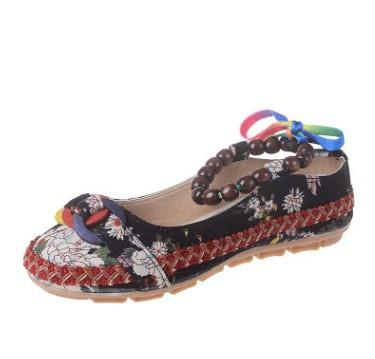 Handmade Beaded Ankle Straps Flat Shoes - Black / 4