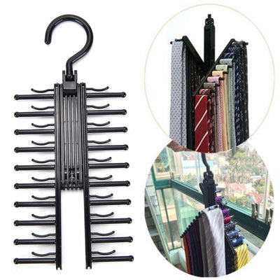 Adjustable 360 Degree Rotating Tie Rack - Black